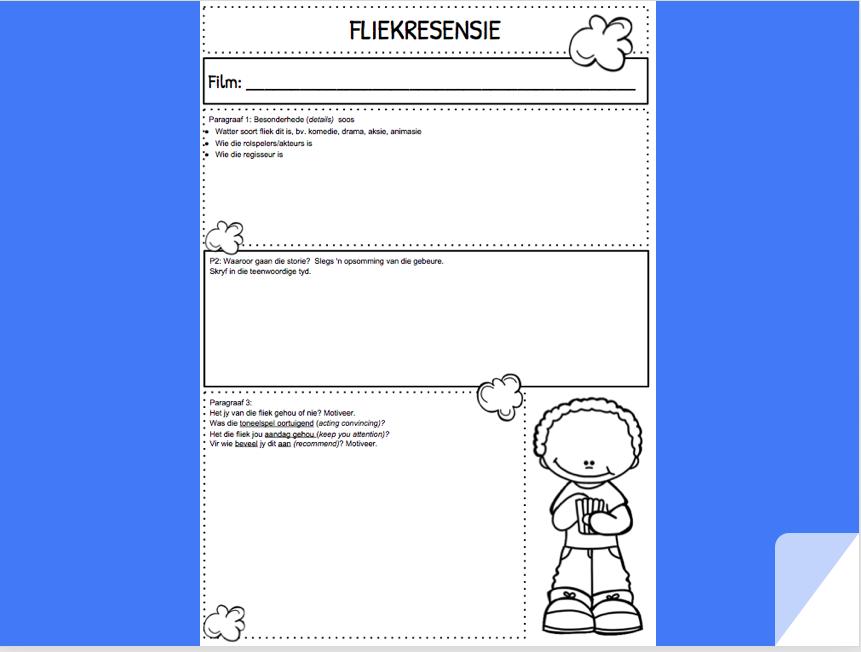 fliekresensie formaat skryfraam